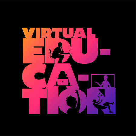 Virtual education concept typographic design vector. Silhouette students watching lesson, boy raises hand in the lesson and the teacher explains the lesson in laptop. Illustration
