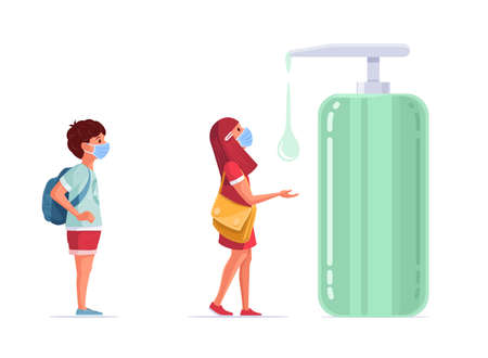 School children use disinfectant. Medical masked kids standing with social distancing. Children in pandemic times. Covid-19 concept vector illustration. Illustration