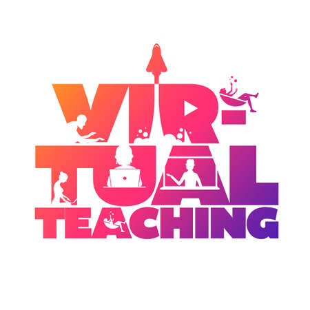 Virtual teaching concept typographic design vector. Silhouette students watching lesson, and the teacher explains the lesson in laptop.