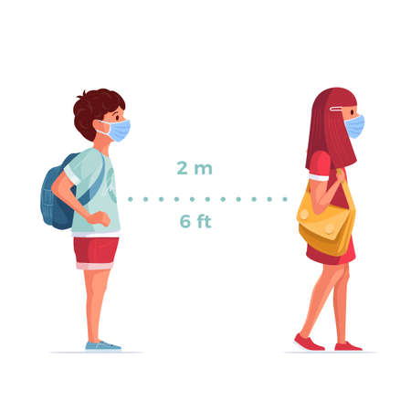 Children wearing medical masks are standing in accordance with social distance rules. Covid-19 and children safe concept vector illustration. Illustration