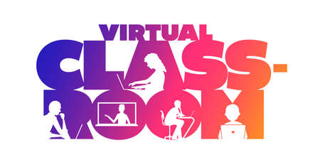 Virtual classroom concept typographic design vector. Silhouette students watching lesson, and the teacher explains the lesson in laptop. Illustration