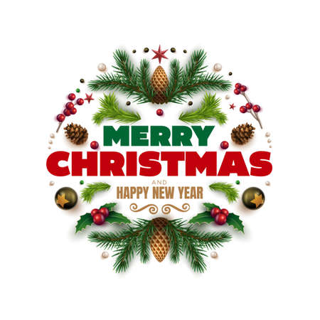 Merry Christmas and happy new year greeting card. Christmas wreath design with festive Christmas decoration ornaments and objects. Vector illustration. Ilustração