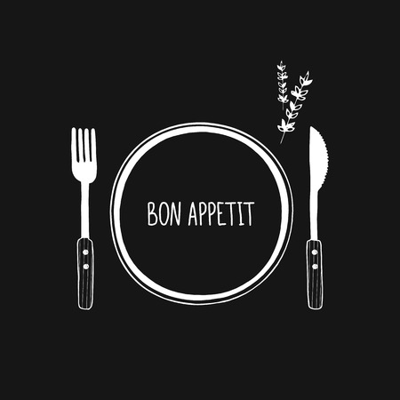 Cutlery and plate vector icon, logo. Isolated. Hand drawn doodle sketch fork, knife and plate. Tableware, dishes, dinnerware. Black and white elements for design. Bon appetit Иллюстрация