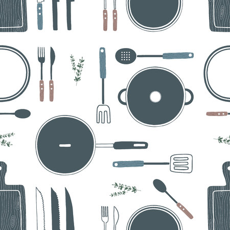 ladles: Hand drawn cooking utensils seamless pattern. Wooden cutting board, knife, fork, spoon, plate, pan, pot, spatula set. Cookware, kitchenware, kitchen tools collection. Vector illustration
