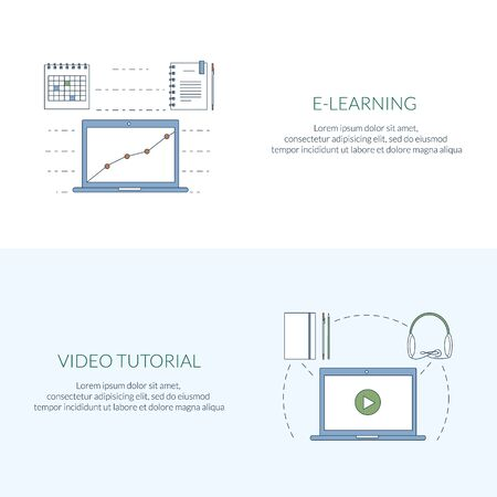 pied: Design concept for studying, learning, distance and online education, video tutorials. Flat line web banners, icons. Vector illustration