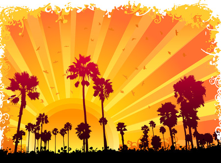 rows: Summer scene Illustration