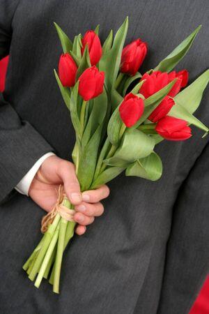 Man Holding Flowers Stock Photo - 318462