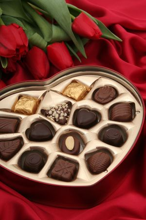 box of chocolates: Heart Shaped Box of Candy and Tulips