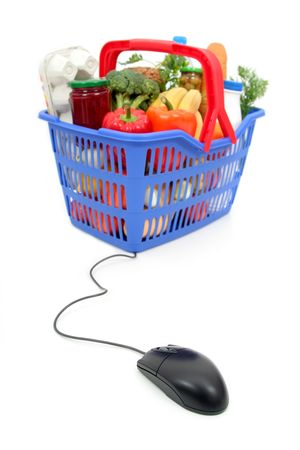 grocery baskets: Shopping Basket Stock Photo