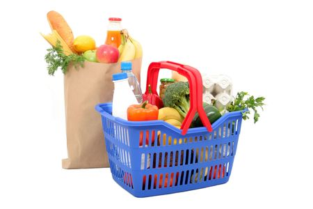 grocery basket: Grocery Stock Photo