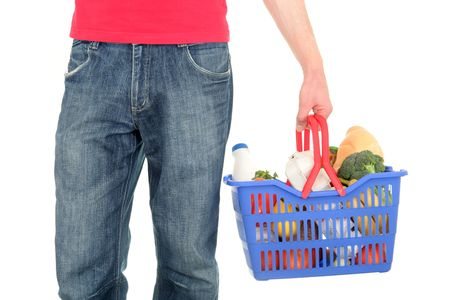 bought: Man with shopping basket