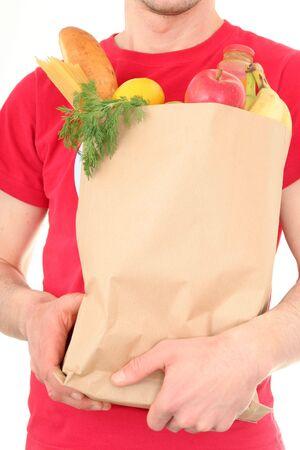 deliverer: Man holding shopping bag