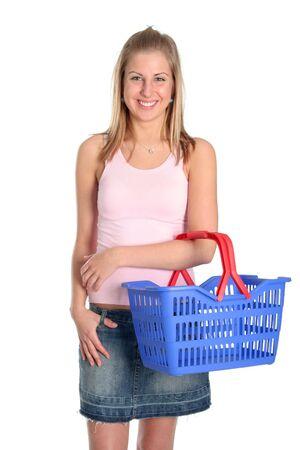 Beautiful woman with shopping basket Stock Photo