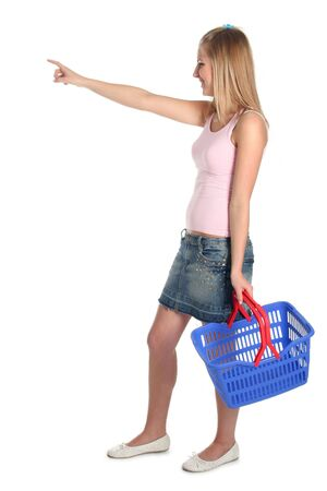 hand baskets: Beautiful woman with shopping basket Stock Photo