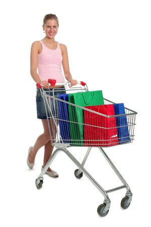 Woman with Shopping Cart photo