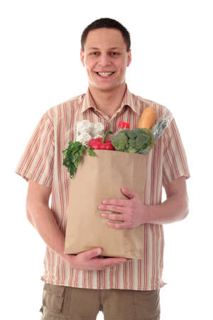 Man holding shopping bag photo