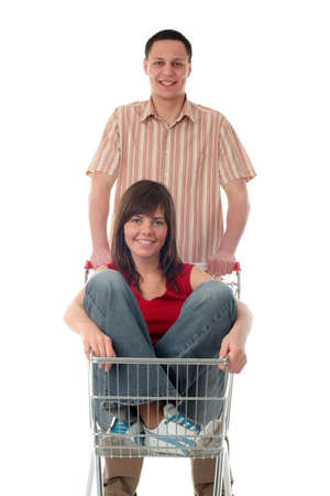 Couple with shopping cart photo