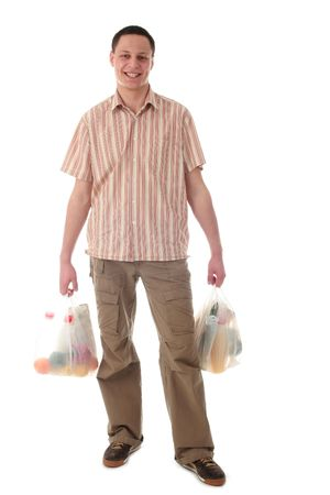 deliverer: Man holding shopping bags Stock Photo
