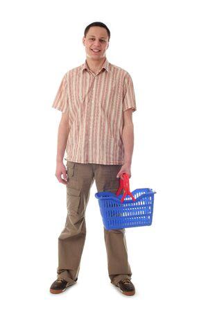 Man holding shopping basket photo