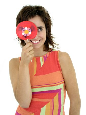 Girl holding lollipop Stock Photo - 469089