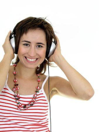 Beautiful Woman Enjoying Music photo