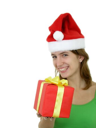 Girl Offering Christmas Present photo
