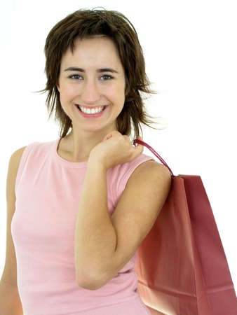 Happy young woman with shopping bag photo