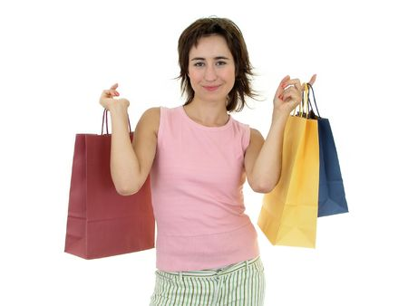 Happy woman with shopping bags photo