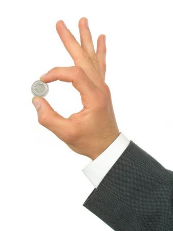 Hand Holding Coin photo