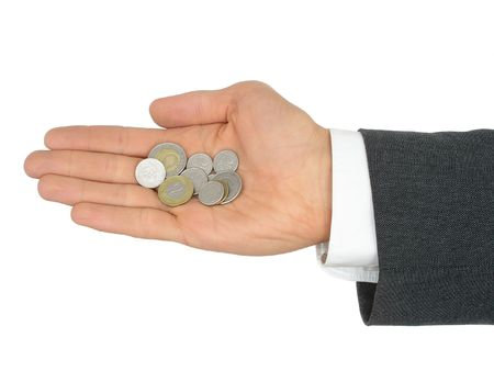 Hand Holding Coins photo