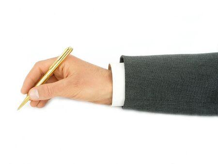 Businessmans Hand Holding Pen photo