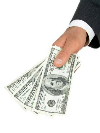 Businessman's Hand Offering Money photo
