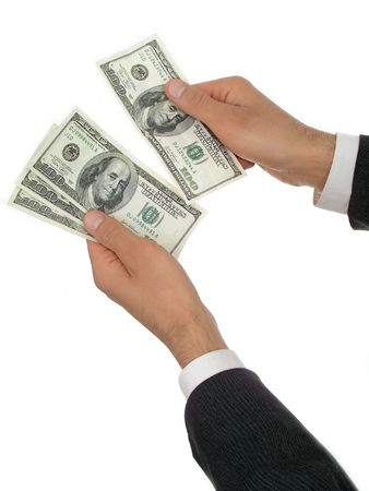 Businessman's Hands Counting Money photo