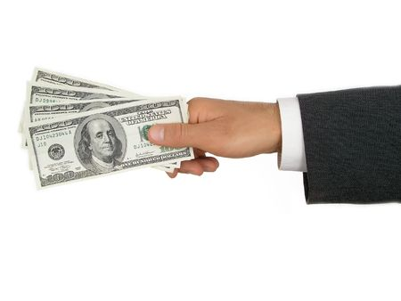 Businessman's Hand Holding Money photo