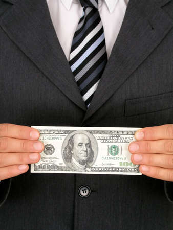 Businessman Holding One Hundred Dollar Bill Stock Photo - 471838