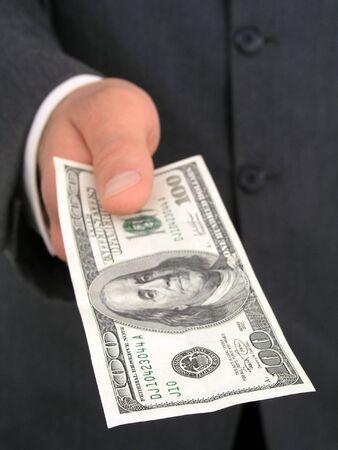 Businessman Holding One Hundred Dollar Bill Stock Photo - 471839