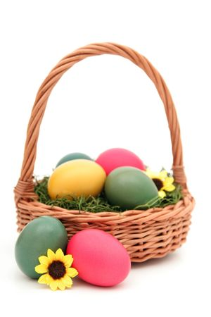 Easter Basket with Easter Eggs photo