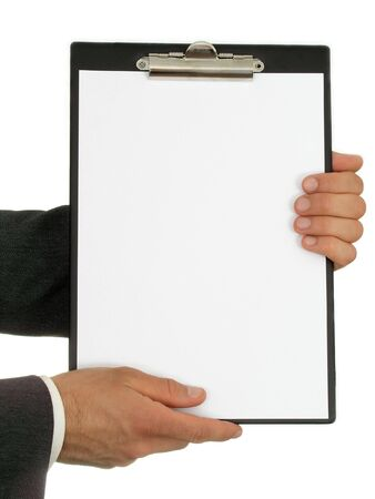 Businessman's Hands Holding Clipboard photo