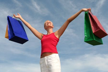 Happy woman  with shopping bags Stock Photo - 484798
