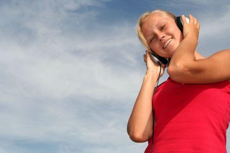 Beautiful Woman Enjoying Music Stock Photo - 484790