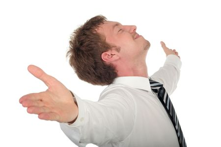 Businessman with his arms wide open photo