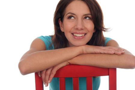 femme regarde en haut: Portrait de jeune femme recherchant