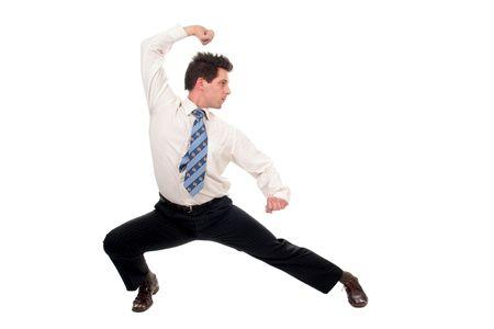 fu: Businessman in kung fu pose