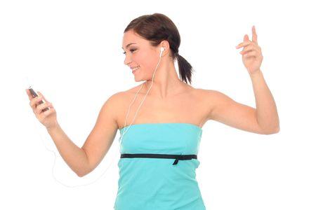 Woman dancing with headphones Stock Photo - 689703