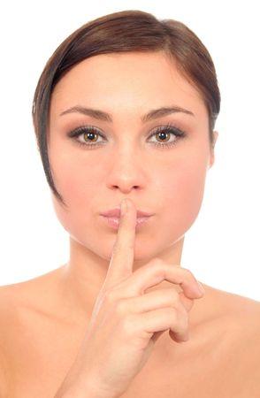 Woman Making Silence Gesture photo