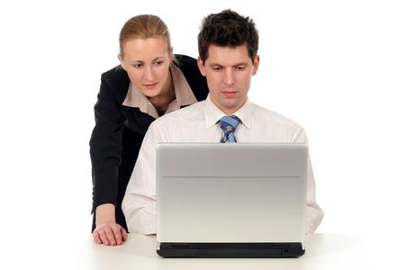 Businesswoman and businessman working on laptop Stock Photo - 732520