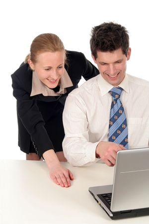 Businesswoman and businessman working on laptop Stock Photo - 732523