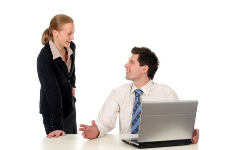 Businesswoman and businessman working on laptop Stock Photo - 732415