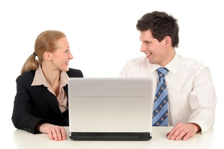 Business couple with laptop photo