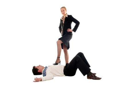 domination: Businesswoman dominating businessman